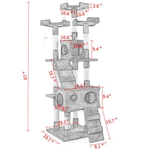 """Buy Best 67"""" Cat Tree Tower Condo Furniture Scratching Post Pet Kitty Play House Gray"""