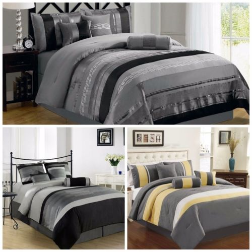 Buy Best 7-Piece 3-tone Embroidery Striped Comforter Set, Black, Gray, Yellow, All Sizes
