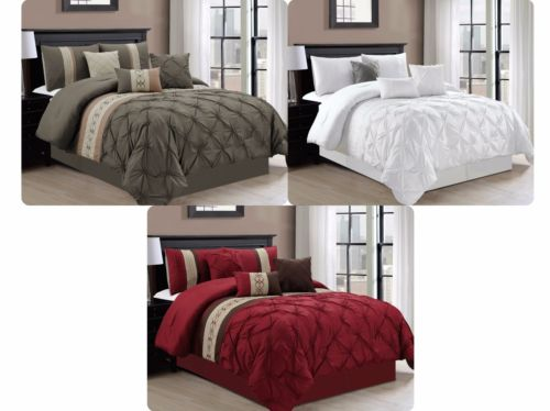 7-piece Floral Pinch Pin-tuck Pleated Scroll Embroidery Comforter Set