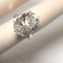 8.50ct NATURAL white crystal quartz 925 sterling silver ring size 6 USA made