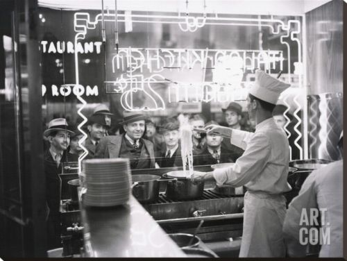 Buy Best A cook preparing spaghetti, Broadway, New York City, 1937 Stretched Canvas Print