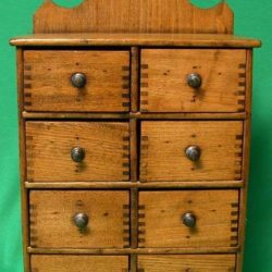 ANTIQUE PRIMITIVE 8 DRAWER SPICE BOX APOTHECARY CHEST DOVETAILED