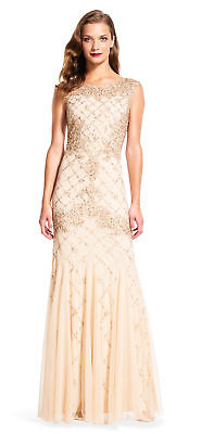 Buy Best Adrianna Papell Fully Beaded Sleeveless Godet Gown Champagne - FINAL SALE