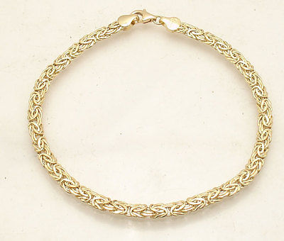 All Shiny Byzantine Bracelet with Lobster Clasp Lock Real 14K Yellow Gold  QVC