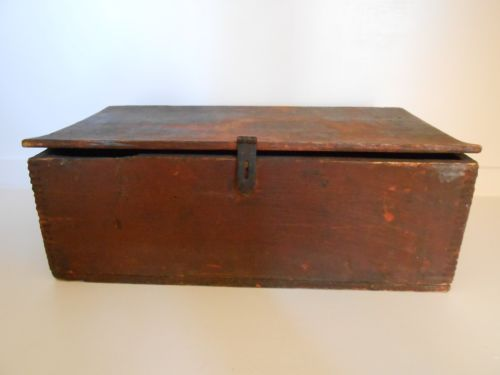 Antique Primitive Vulcan Horse Nail Box Crate Original Dry Red Paint Pat 1865 AA