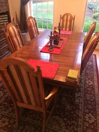Buy Best Antique SOLID OAK Detailed DINING ROOM SET 6 Chairs Hutch With Lighting Table