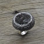 Artisan Handmade Sterling Silver Druzy Quartz Ring With Marcasite, 925 Jewelry