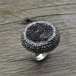 Buy Best Artisan Handmade Sterling Silver Druzy Quartz Ring With Marcasite, 925 Jewelry