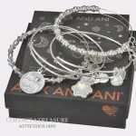 Buy Best Authentic Alex and Ani Be Merry Set of 4 Shiny Silver Charm Bangle