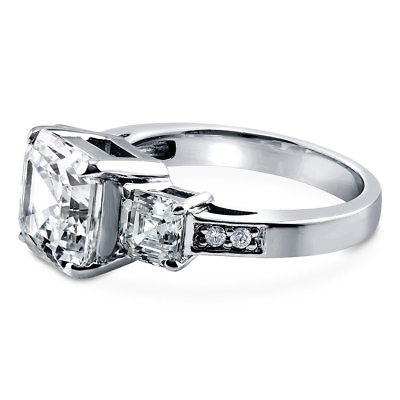 BERRICLE Sterling Silver Asscher Cut CZ 3-Stone Engagement Ring 5.6 Carat