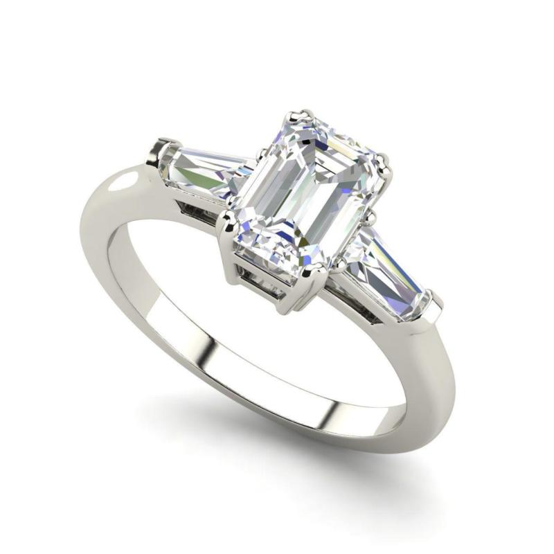 Baguette Accents 1 Ct VVS2/F Emerald Cut Diamond Engagement Ring White Gold