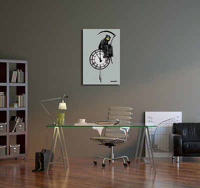 Buy Best Banksy Grin Reaper Stretched Canvas Wall Art. BONUS WALL DECAL!