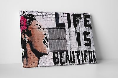 Banksy Life Is Beautiful Gallery Wrapped Canvas. BONUS BANKSY WALL DECAL!