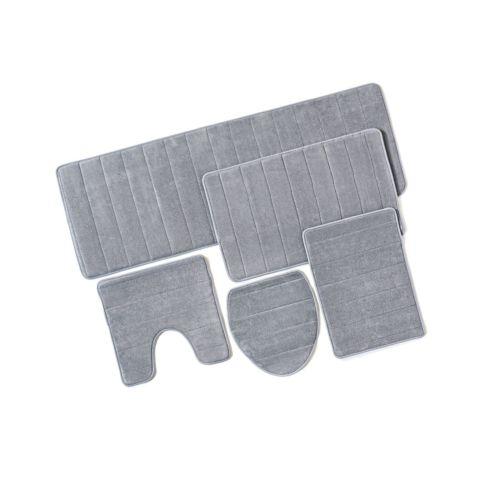 Buy Best Bathroom Rug Mat 5-Piece Set Memory Foam Extra Soft Non-Slip Back (Grey) Grey