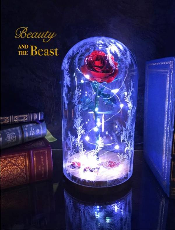 Buy Best Beauty and the Beast Enchanted Rose Handmade out of Metal with LED Lights
