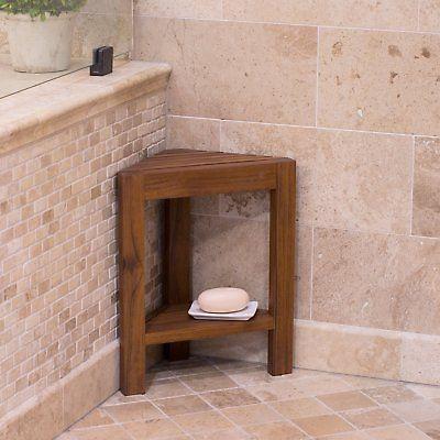 Belham Living Corner Teak Shower Bench with Shelf