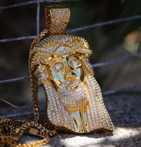 Big 18k Gold Jesus Piece Pendant With Franco Chain Necklace