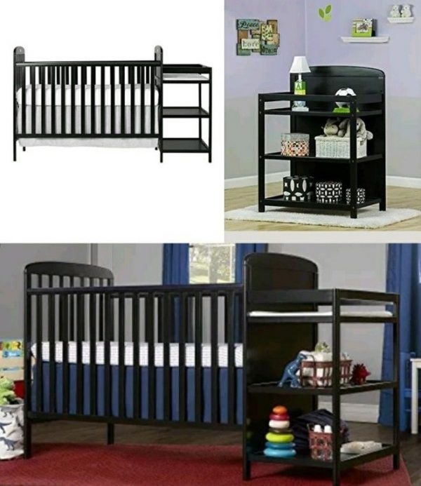 Buy Best Black Baby Crib Nursery Furniture Changing Table Toddler Bed Rail Table Station