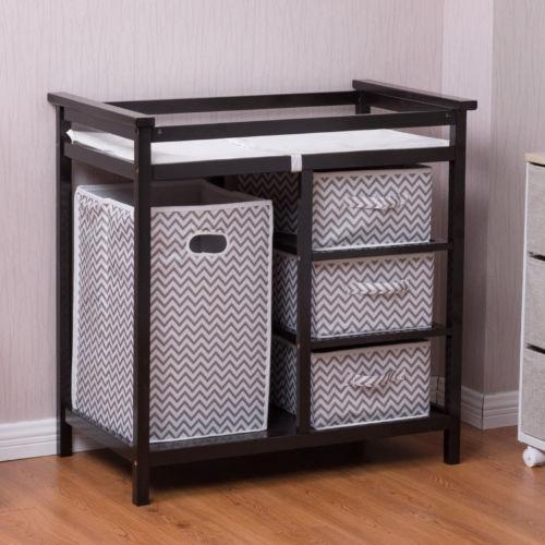 Buy Best Black Infant Baby Changing Table w/3 Basket Hamper Diaper Storage Nursery New