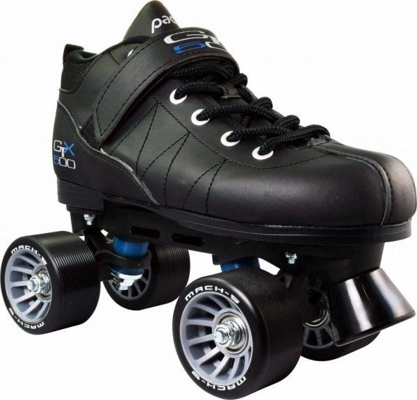 Black Pacer Mach 5 GTX-500 Quad Speed Roller Skates w 2 Pair Laces Rainbow & Blk