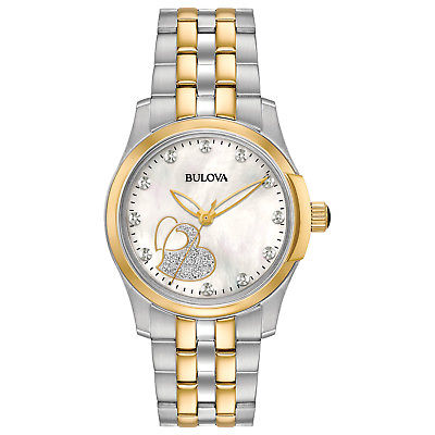 Bulova Classic Women's 98P152 Diamond Accents Glitter Heart Dial Two-Tone Watch