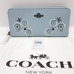 COACH 12182 TEA ROSE TOOLING APPLIQUE SLIM ACCORDION ZIP WALLET PALE BLUE