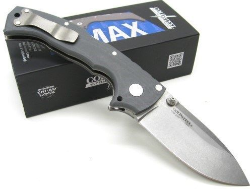 COLD STEEL Gray 4 MAX Straight CPM 20CV Steel Folding Pocket Knife New! 62RN
