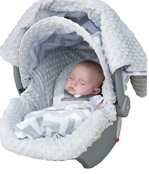 Carseat Canopy 5 Pc Whole Caboodle Baby Infant Car Seat Cover Kit with Minky ...