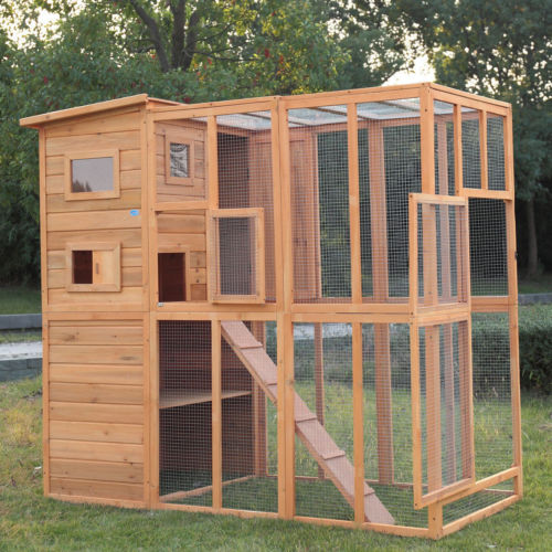 Cat Pet House Run Enclosure Wooden Fun Small Animal Shelter Tunnel Outdoor