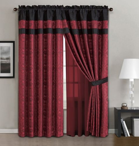 Buy Best Chezmoi Collection 7pc Dynasty Jacquard Black/Red Comforter Set or Curtain Set