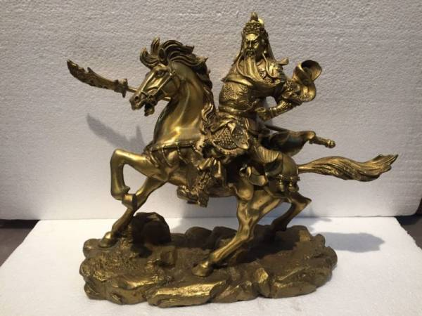 Buy Best Chinese Brass Carved Guan Gong Riding a Horse Statue