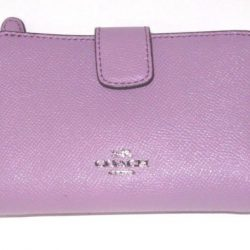 Coach Lilac Purple Cross Grain Leather Medium Corner Zip Wallet F54010 NWT $165