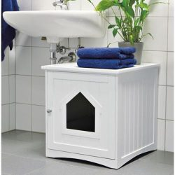 Buy Best Covered Litter Box Cat Enclosed Bed House Pet Crate Table Furniture Wooden White