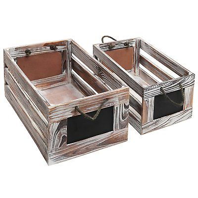Distressed Torched Wood Finish Nesting Boxes / Rustic Storage Crates with Labels