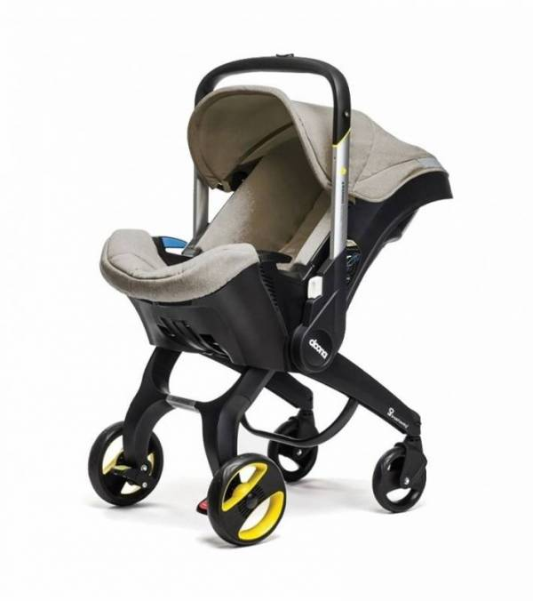 Doona Infant Baby Car Seat Travel Stroller with Latch Base Beige Dune NEW