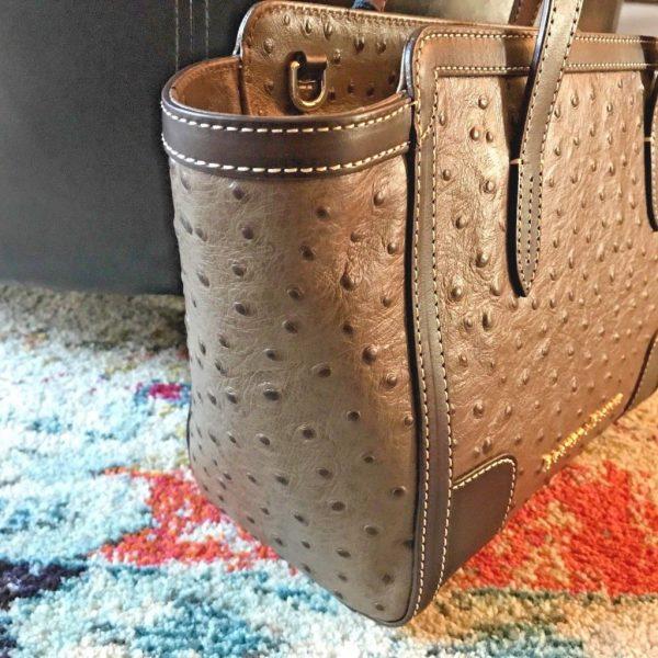 Dooney & Bourke Ostrich Embossed Leather Small Shopper Mushroom NWT $268