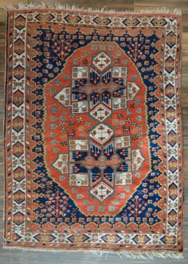 """Buy Best EXTRA SPECIAL ANTIQUE PERSIAN AFSHAR TRIBAL RUG - 4'7"""" x 6'4"""" RED & BLUE"""