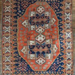 """EXTRA SPECIAL ANTIQUE PERSIAN AFSHAR TRIBAL RUG - 4'7"""" x 6'4"""" RED & BLUE"""