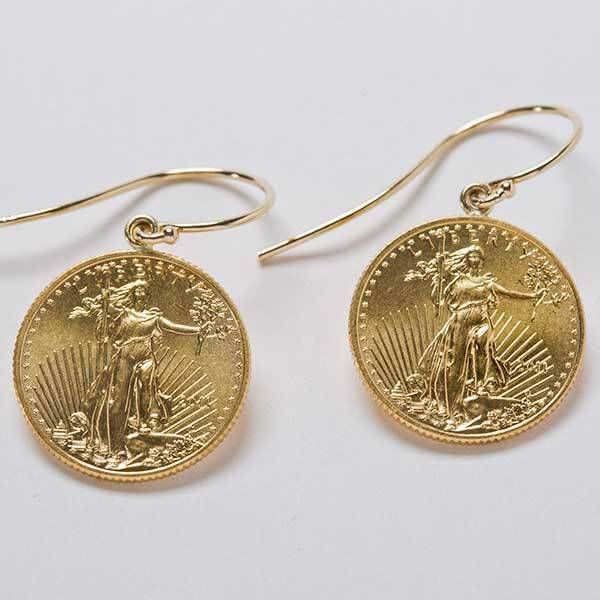 Buy Best Earrings: 1/10 oz. 22k Standing Liberty gold coins with 14k Gold French Wires.