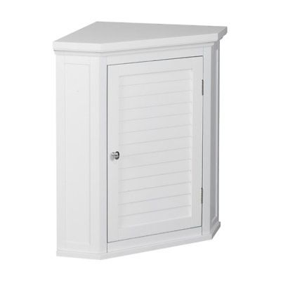 Elegant Home Fashions Slone Corner Wall Cabinet with 1 Shutter Door -, White