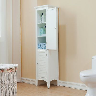 Elegant Home Fashions Slone Linen Tower with 2 Shutter Doors -, White