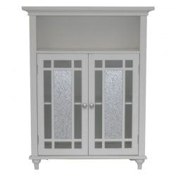 Elegant Home Windsor Bathroom Double Door Floor Cabinet, White