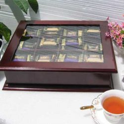 Buy Best Elegant Tea Bag Chest Cabinet with glass door cover, solid wood, TEA1-Maho