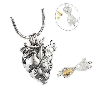 Eternally Loved Anatomical Heart Necklace Cremation Organ Pendant Urn for Mem...