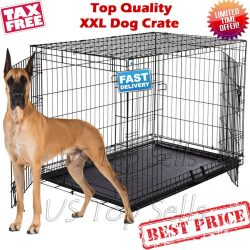 """Buy Best Extra Large Dog Kennel Crate 48"""" Folding Pet Cage Metal 2 Doors Tray Pan XL XXL"""