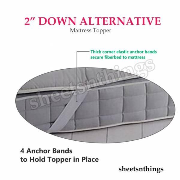 "Extra Soft Plush Fiber Overfilled Pad, 2"" Down Alternative Mattress Topper"