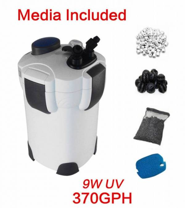 Buy Best FREE MEDIA 100 GAL Aquarium Fish Tank Canister Filter + 9W UV Sterilizer370 GPH