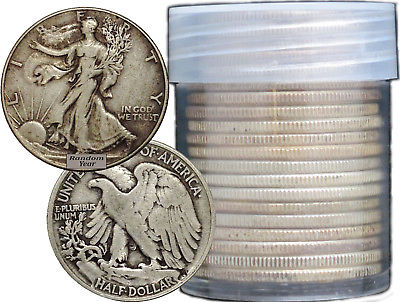 Buy Best FULL DATES  Roll of 20 $10 Face Value 90% Silver Walking Liberty Half Dollars