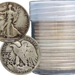 FULL DATES  Roll of 20 $10 Face Value 90% Silver Walking Liberty Half Dollars