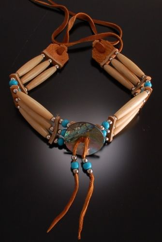 Fantastic Abalone, Bone and Leather Choker - 3 strand Bone choker necklace 7D12B
